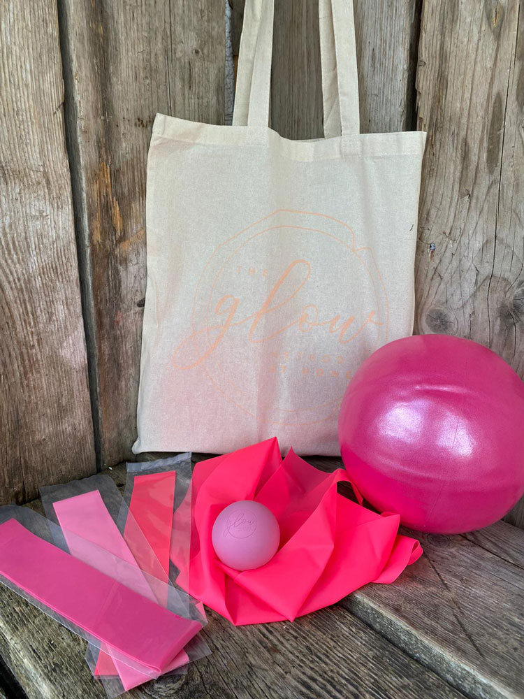 Glow exercise bag with contents
